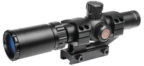 Truglo Tru-Brite 30 Series Rifle Scope, 1-4X24, Fully-Coated Lenses, Illuminated Power Ring Duplex Mil-Dot Reticle, Matte Black, 30mm, Pre-Calibrated .223 and .308 BDC Turrets, One-Piece Base, and CR2032 Battery Included
