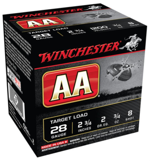 "Winchester AA Target 28 Ga, 2.75"", 1200 FPS, 0.75oz, 8 Shot, 250rd/Case (10 Boxes of 25rd)"