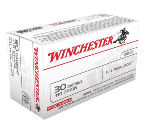 Winchester 30 Carbine Full Metal Case 110GR, 50rd Box