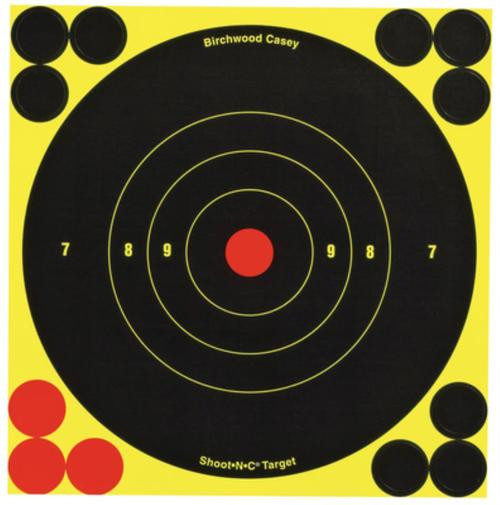 "Birchwood Casey Shoot-N-C Targets 6"" Round Bullseye, 12 Targets, 48 Pasters"