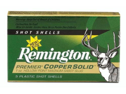 "Remington Premier Copper Slug Loads 12 Ga, 2.75"", 1oz, Sabot Slug Shot, 5rd/Box"