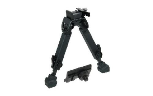 """Leapers, Inc. - UTG Rubber Armored Full Metal QD Bipod, Fits Picatinny Rail or Swivel Stud, 6"""" - 8.5"""", with Adjustable Height, Black"""