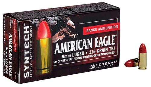 Federal American Eagle 9mm 115gr, Total Syntech Jacket, 50rd Box