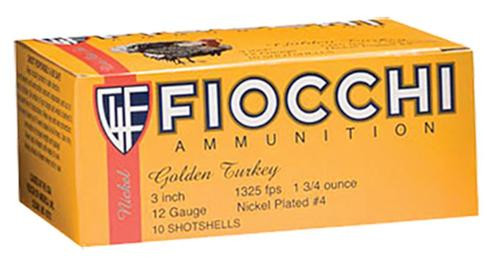 "Fiocchi Turkey Nickel Plated 12 Ga, 3"", 1-3/4oz, 6 Shot, 10rd/Box"