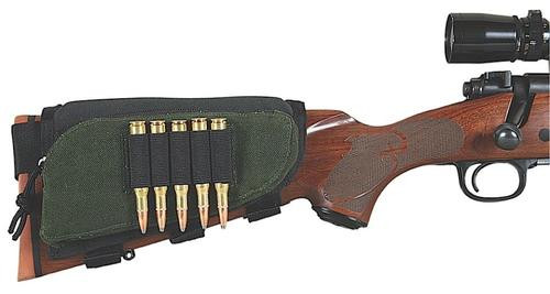 Allen Buttstock Cartridge Holder with Pouch 5 Rifle Rounds Cordura Nylon Green with Black Accents