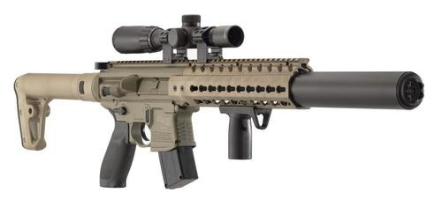 "Sig Sauer, MCX, CO2 Rifle, 177PEL, 685 Feet Per Second, 18"" Barrel, Flat Dark Earth, Includes 1-4x24mm Scope, 30Rd"