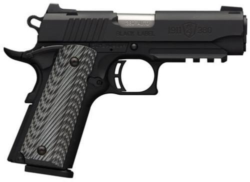 "Browning 1911-380 .380 ACP, 3.62"", Black/Gray G10 Grip, Black Stainless Steel,, rd ,  8 rd"