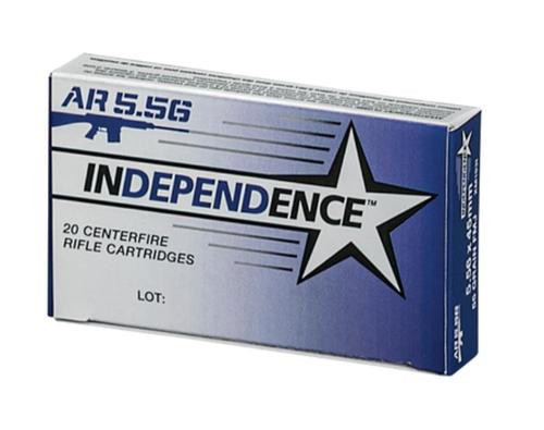 Federal Independence 5.56mm 55gr, Full Metal Jacket Boattail, 20rd Box, 25 Box/Case