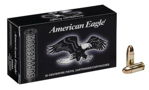 Federal American Eagle Suppressor 9mm 124gr, Full Metal Jacket