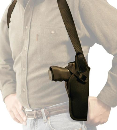 """Uncle Mike's Shoulder Holster Size 2 Fits up to 48"""" Chest, 4"""" Medium Revolvers, Black Nylon"""