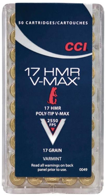 CCI Small Game 17 Hornady Magnum Rimfire (HMR) 20gr, Full Metal Jacket 50rd Box