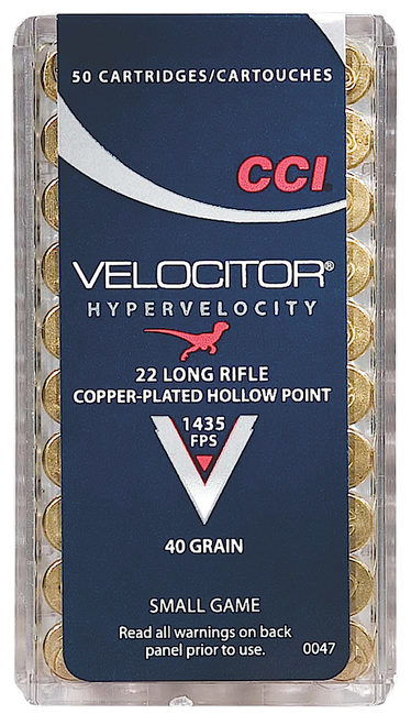 CCI Velocitor 22LR 40gr, Copper-Plated Hollow Point, 50rd/Box, 100 Box/Case