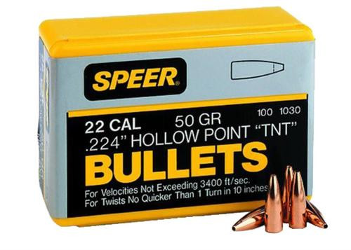 Speer Rifle Bullets 22 Caliber .224 46gr, Varmint Soft Point Flat Nose 100 Box