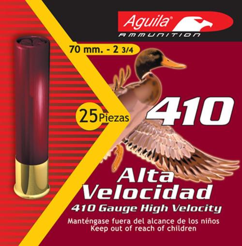 "Aguila Hunting High Velocity .410 Ga, 2.5"", 1/2oz, 6 Shot, 25rd Box"