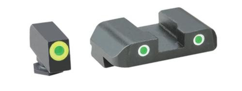 AmeriGlo Tritium Front/Rear Combo Sights Green Dot White Outline Rear and Green Dot LumiLime Outline Front For Glock 17-39