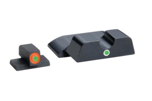 AmeriGlo Pro i-dot Set For S&W Shield Front ProGlo Green Tritium With Orange Outline Single Dot Green Rear Sight