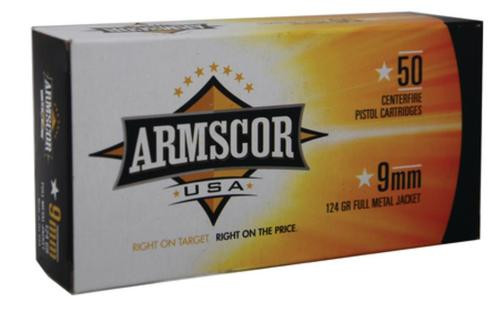 Armscor 9mm, 124 Gr, FMJ, 50rd Box