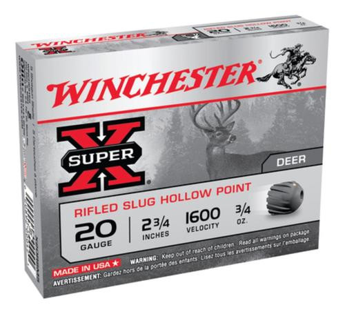 "Winchester Super-X Rifled Lead 20 Ga, 2.75"", 3/4oz, Slug, 5rd/Box"