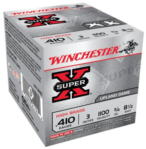 "Winchester Super-X High Brass .410 Ga, 3"", 1100 FPS, .75oz, 8.5 Shot, 25rd/Box"