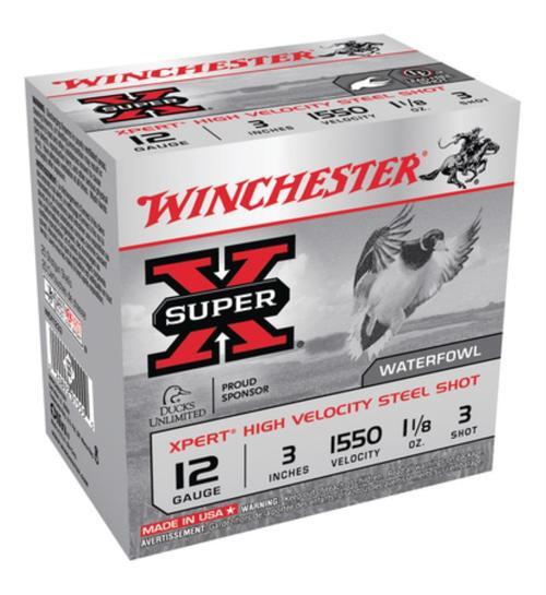 "Winchester Expert Hi-Velocity 12ga 3"" 1-1/8 oz 3 Shot 25Box/10Case"