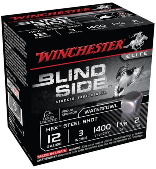 Winchester Blind Side Steel Hex Magnum Waterfowl 12 Gauge, 3 Inch, 1400 FPS, 1.375 Ounce, 2 Shot, 25rd/Box