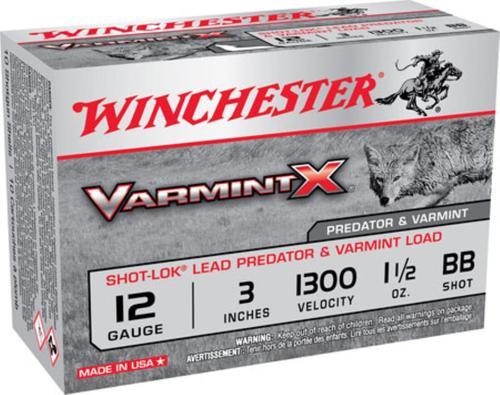 "Winchester Varmint X With Shot-Lok Technology 12 Ga, 3"", 1300 FPS, 1.5oz, BB Shot, 10rd/Box"