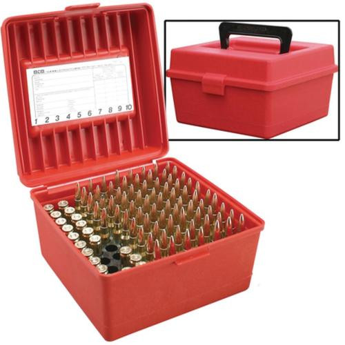 MTM Case Gard R-100 Rifle Ammo Boxes .22-250 to .375 H&H Magnum Red