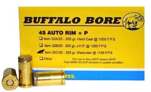 Buffalo Bore 45 Auto Rim +P 225gr, Wadcutter 20rd Box