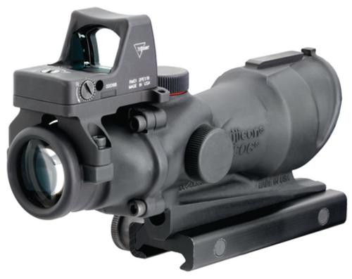 Trijicon ACOG 4x32 Center Illuminated Amber Crosshair .223 Ballistic Reticle and 4MOA RMR Red Dot Sight Combo Black