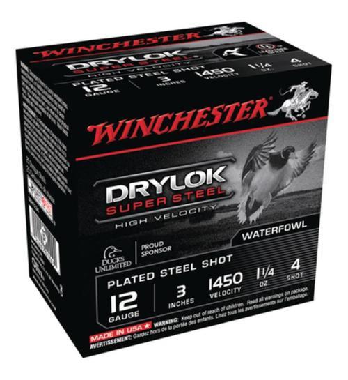 """Winchester Supreme HV Steel Shotshells 12ga 3"""" 1-1/4 oz 4 Shot 25Box/10Case"""
