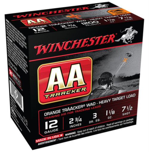 "Winchester AA TrAAcker Heavy 12 Ga 2.75"" 1350 FPS 1.125oz 7.5 Shot Orange Wad"