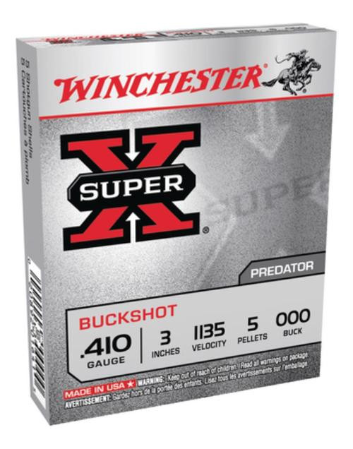 "Winchester Super-X Buckshot .410 Ga, 3"", 5 Pellets, 000 Buck Shot, 5rd/Box"