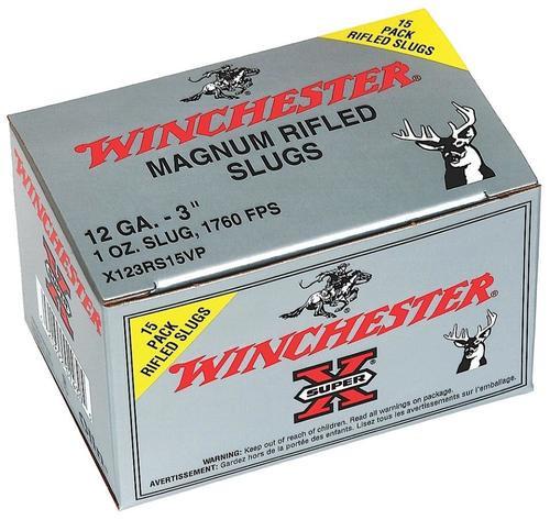"Winchester Super-X Rifled Lead Slug12 Ga, 3"", 1oz Slug, 15rd/Box"