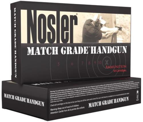 Nosler Match Grade Handgun Ammunition 9mm 124gr, Jacketed Hollow Point 50rd Box