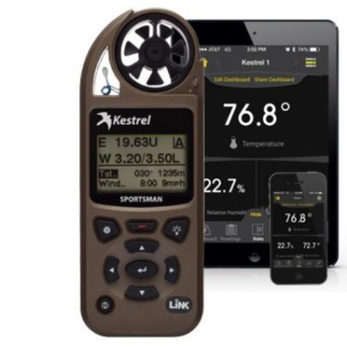 Kestrel Sportsman Weather Meter with Applied Ballistics LiNK + Vane Mount, Coyote Brown