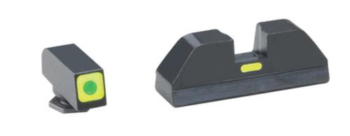AmeriGlo CAP Tritium Sight Set Glock 43 Green Front With Lumi-Lime Square Outline Green Lumi-Lime Rear Horizontal Line