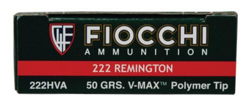 Fiocchi Extrema Hunting .222 Rem 50gr, V-Max Polymer Tip, 20rd Box