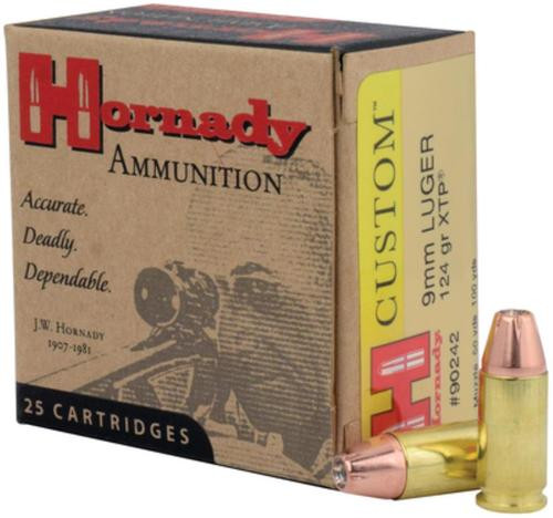 Hornady Custom 9mm 124gr, Jacketed Hollow Point XTP 25rd/Box