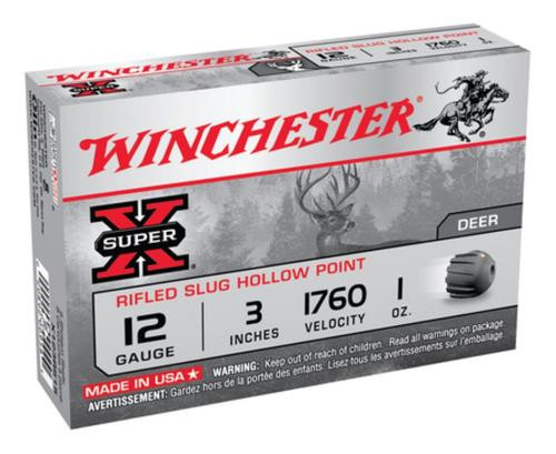 "Winchester Super-X Rifled Lead 12 Ga, 3"", 1 oz, Slug, 5rd/Box"