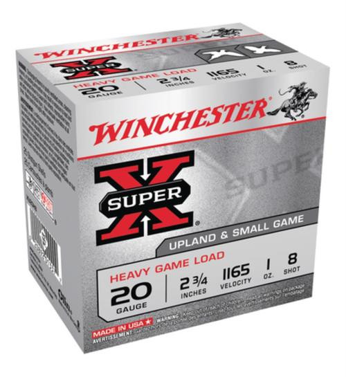 "Winchester Super-X Heavy Game 20 Ga, 2.75"", 1 oz, 8 Shot, 25rd/Box"