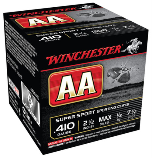 "Winchester AA Super-Sport 410 Ga, 2.5"", 1300 FPS, 1/2oz, 7.5 Shot, 250rd/Case (10 Boxes of 25rd)"