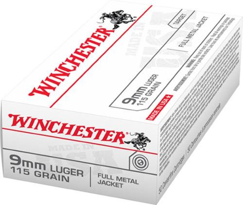 Winchester 9mm 115gr, FMJ, 50rd/Box