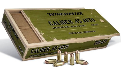 Winchester Limited Edition Service Grade Ammo In Collectible Wood Box 45 ACP 230gr, FMJ, 4x50rd Boxes, 200rds