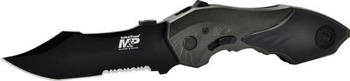"""Smith & Wesson Knife M&p 2nd Gen Spring Assist 3.5"""" Serrated Bowie"""