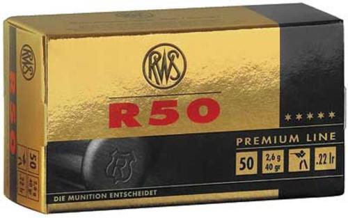 RWS R50 22LR Premium Match 40 Gr, C CLASS, 50rd Box