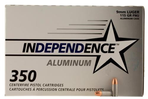 CCI Independence 9mm115gr, Full Metal Jacket, Non-reloadable, 350rd Box