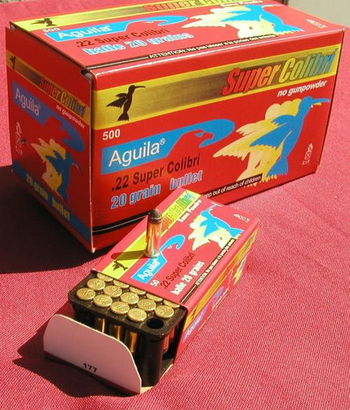 Aguila Ammunition Rimfire, Super Colibri, 22 LR, 20Gr, Subsonic. Solid Point, 50rd Box