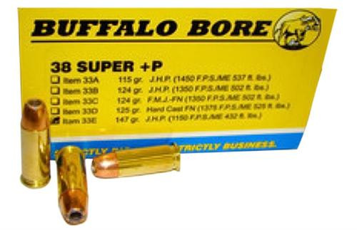 Buffalo Bore 38 Super +P JHP 147gr, 20rd Box