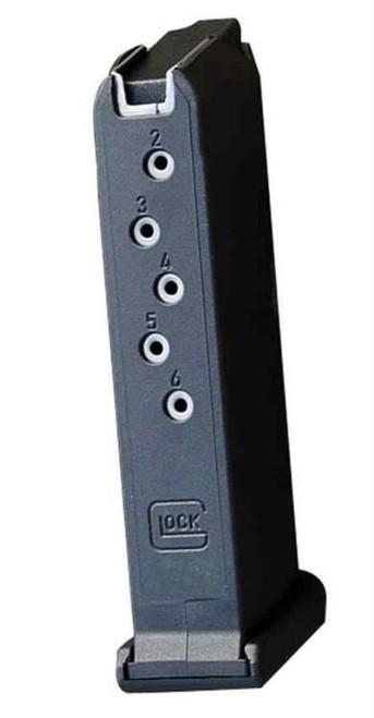 Glock G43 Magazine 9mm, 6 rd Flat Base Composite Black