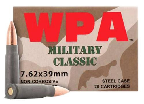 Wolf Military Classic 7.62x39mm, 124gr, FMJ, Steel Cased, 20rd